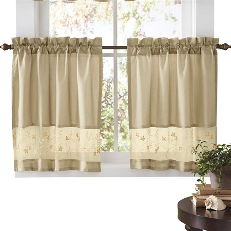 cafe kitchen curtains embroidered vines fairfield rod pocket kitchen cafe