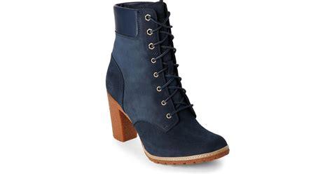 timberland navy glancy high heel boots in blue lyst