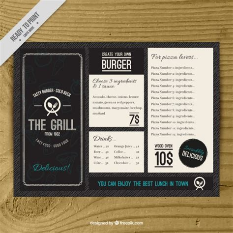 free bar menu templates vintage burguer bar menu template vector free
