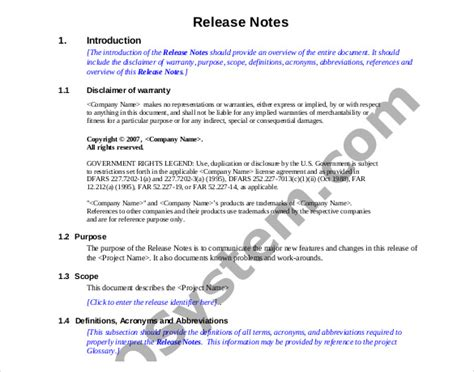 software release notes template doc release notes template 14 free word pdf documents