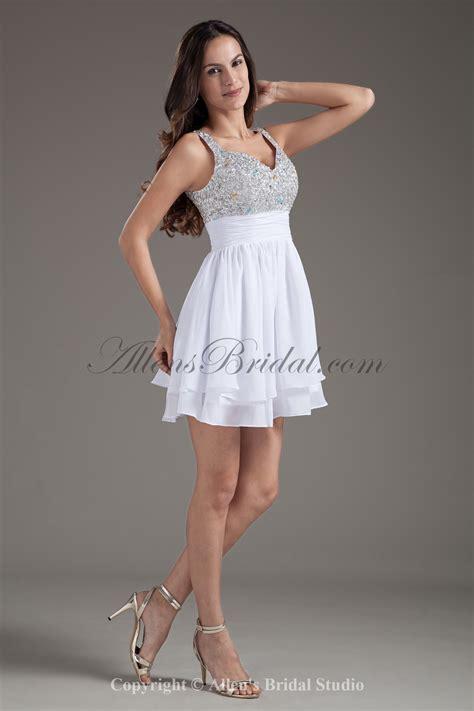 Cocktail Dress A Line allens bridal chiffon straps a line white sequins cocktail dress