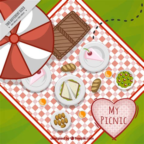 Picnic Top delicious picnic in a top view background vector free