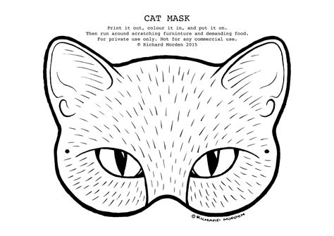 printable mask of cat drawn masks cat pencil and in color drawn masks cat