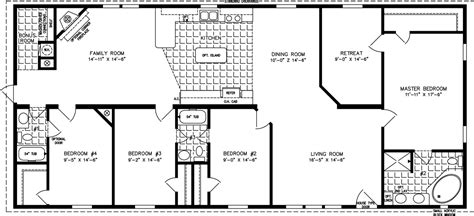 4 Bedroom Mobile Home Floor Plans by Four Bedroom Mobile Homes L 4 Bedroom Floor Plans