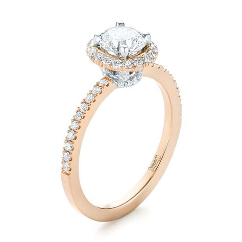 Two Tone Halo Engagement Ring - custom two tone halo engagement ring 103486