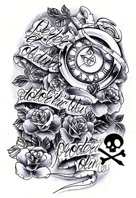 timeless clock and roses sleeve commission brad by willemxsm on deviantart