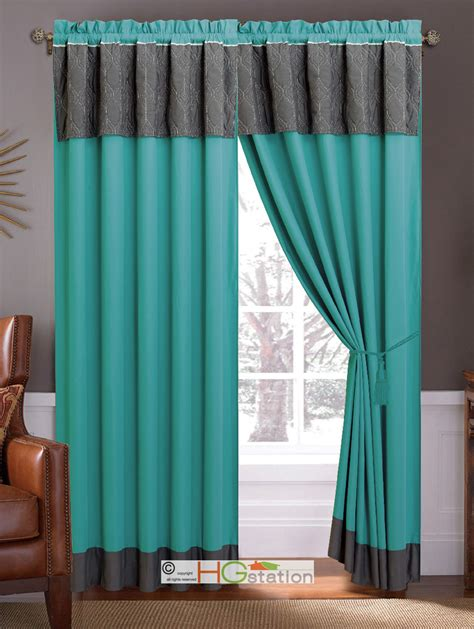 Grey And Turquoise Curtains 4 P Quilted Trellis Geometric Curtain Set Gray Turquoise Blue Valance Sheer Ebay