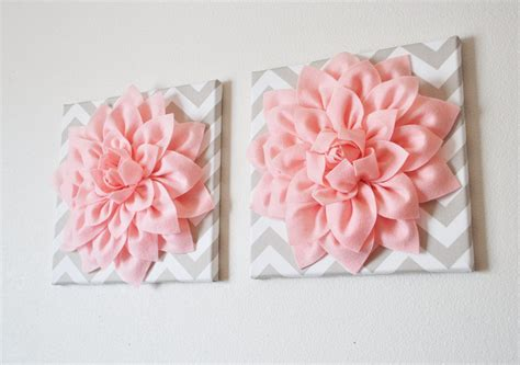 light pink room decor two wall flowers light pink dahlia on taupe and white chevron