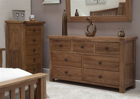 rustic oak bedroom furniture tilson solid rustic oak furniture wide chest of drawers
