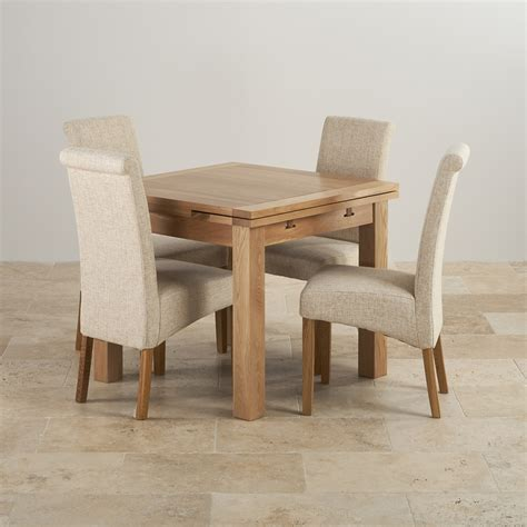Solid Oak Dining Tables And Chairs Dorset Oak 3ft Dining Table With 4 Beige Fabric Chairs