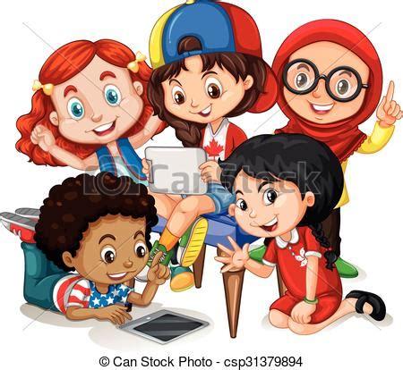 imagenes niños jugando en grupo eps vectores de grupo ni 241 os trabajando ni 241 os