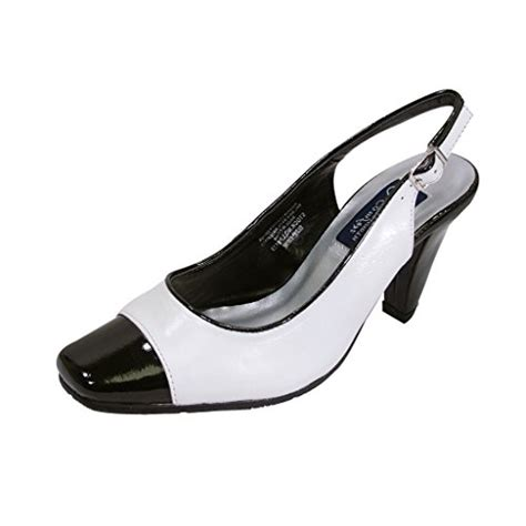 fic peerage wide width leather slingback white black 6 apparel accessories