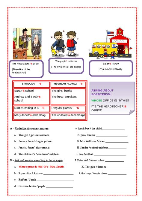genitive case english exercises 64 free possessive case worksheets