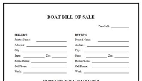 Bill Of Sale For Boat Free Printable Documents Boat Bill Of Sale Template