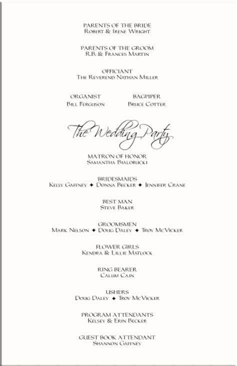 wedding processional order template best photos of wedding reception program template