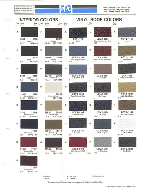 ford interior color code chart billingsblessingbags org