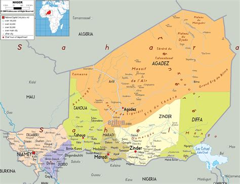 africa map niger detailed clear large map of niger ezilon maps