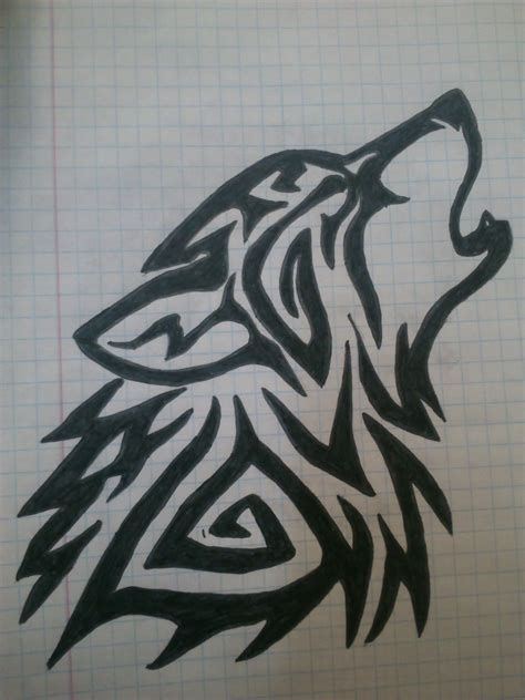 tribal wolf tattoos art tribal wolf drawing by ladyvlaew on deviantart