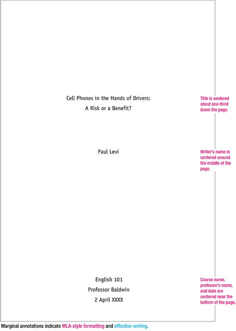 Mla Format For Title Page Of Essay mla format sle paper with cover page and outline mla format