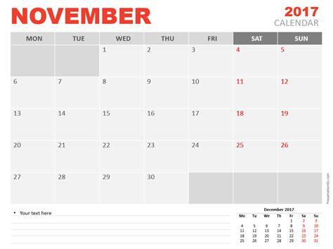 november 2017 calendar editable november 2017 powerpoint calendar presentationgo com