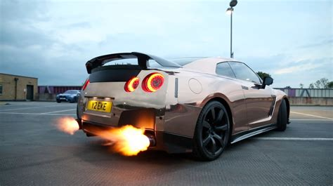 gtr nissan tanner crazy customized nissan gtr loud exhaust flames youtube