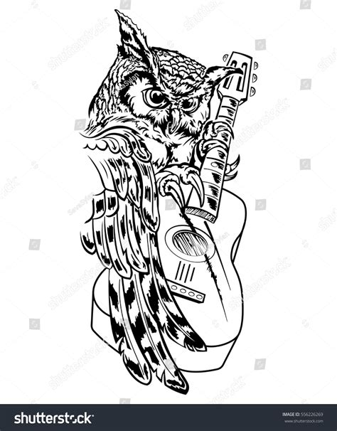 tattoo pen vector owl guitar vector hand drawn ink stock vector 556226269