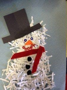 Shredded Paper Crafts - shredded paper snowman recycled crafts winter ideas