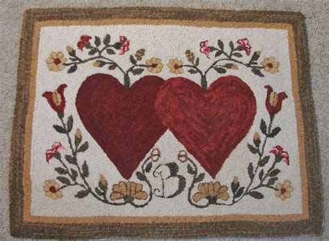Hooked Rug Patterns Primitive Primitive Hooked Rug Pattern On Monks Quot Hearts Entwined Quot Ebay