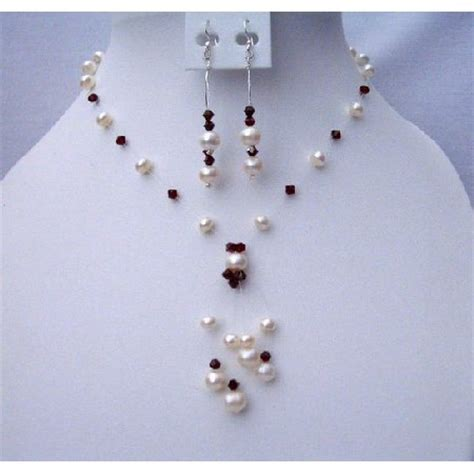 Handmade Pearl Jewelry Designs - brd371 handmade swarovski crystals necklace set made of