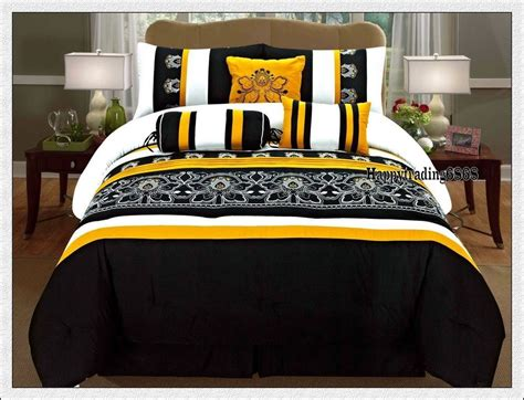black yellow white embroidery 7pc king queen comforter