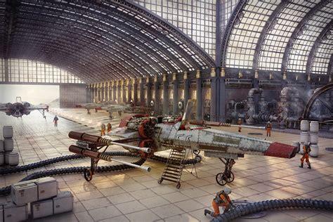 Art Star Wars steampunk hangar people ship sci-fi ...