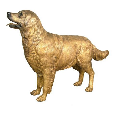 golden retriever statues outdoor bronze golden retriever statue