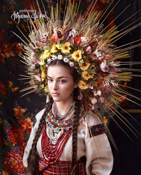 Traditional by Modern Women Wearing Traditional Ukrainian Crowns Give New