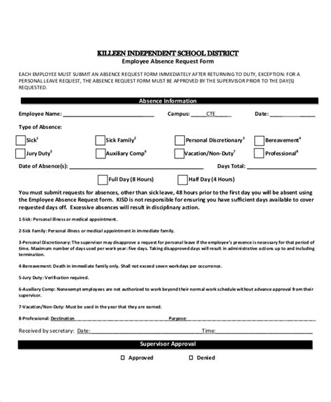 leave of absence request form template pin absence request form template on