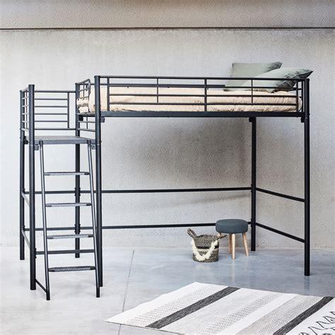 alinea lit 2 places lit mezzanine 2 places en acier noir avec plateforme