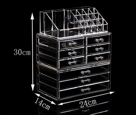 Acrylic Makeup Organizer Big Box 2 Drawer Akd405 2016 clear acrylic cosmetic display makeup organizer box