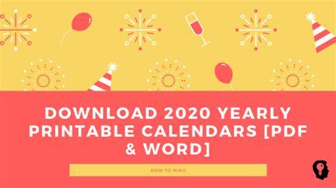 yearly printable calendars  word