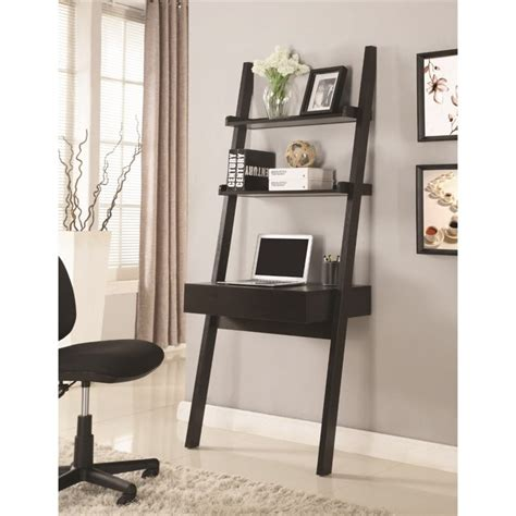 coaster company cappuccino writing desk coaster ladder style writing desk in cappuccino 801373