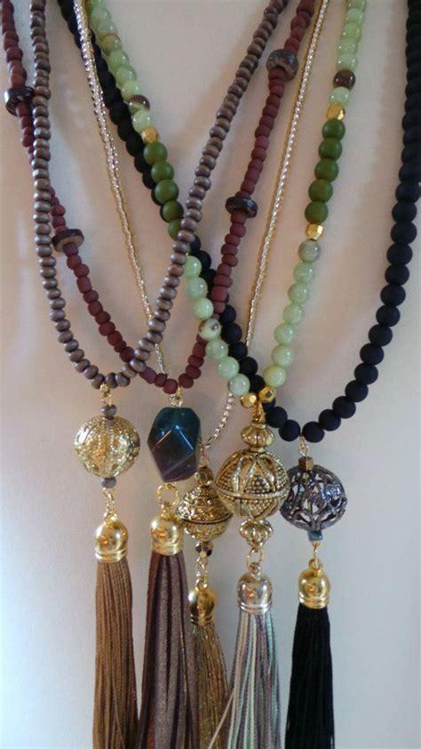 wood bead tassel necklace wood bead tassel necklace brown tassel by