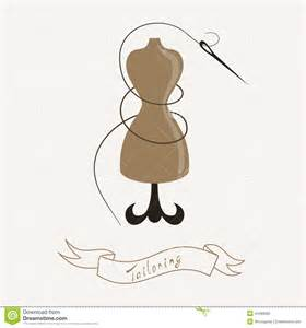Decorative Stitch Tailoring Emblem With Mannequin Or Dummy And Stock Vector