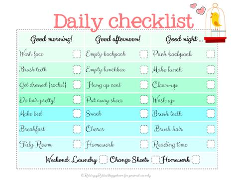 daily routine checklist template raising up rubies back to school checklist free print