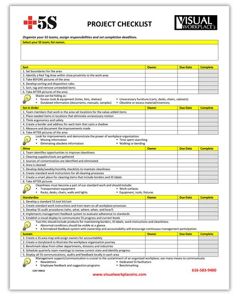5s implementation checklist template 2017 2018 best