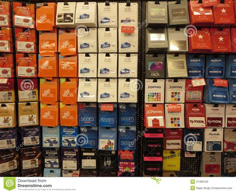 Gift Card Retailers - prepaid gift cards editorial stock photo image 47490133
