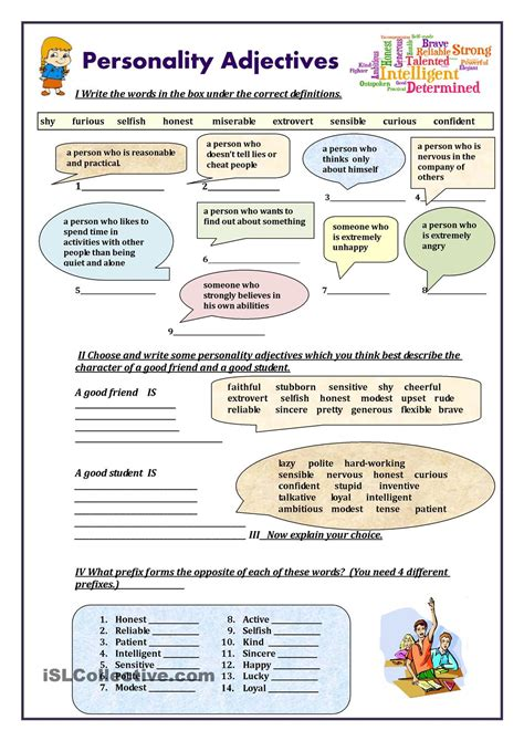 printable english conversation worksheets personality adjectives worksheet free esl printable