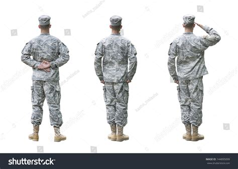 Us Army Email Address Lookup Us Army Soldier In Three Parade Rest Attention Saluting Back View