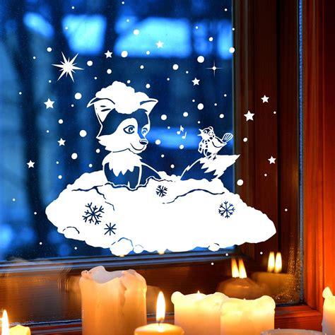 Fensterdeko Weihnachten Schnee by Fensterbild Fensterdeko Winterbild Winter Fuchs Vogel