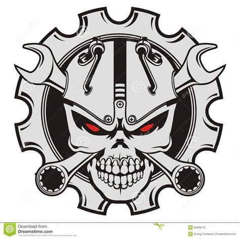 Sticker Set Helm Robot Line V1 skull machine and wrench stock illustration image 53699775