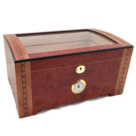 cigar humidor 200 ct luxury clear top wood cigar humidor burlwood ebay
