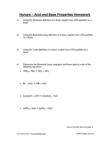 Acids And Bases Worksheet by Worksheets Properties Of Acids And Bases Worksheet