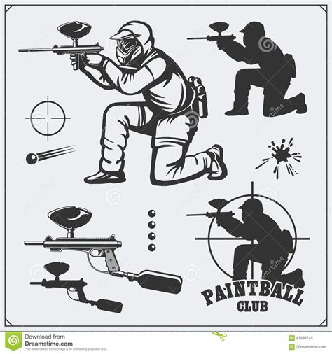 game design equipment paintball club symbols icons protection uniform and sport